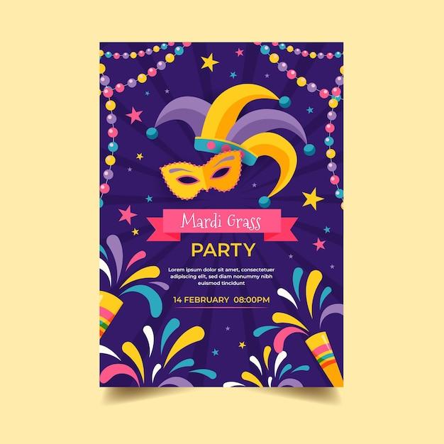 Modèle D'affiche Mardi Gras Design Plat Vecteur gratuit