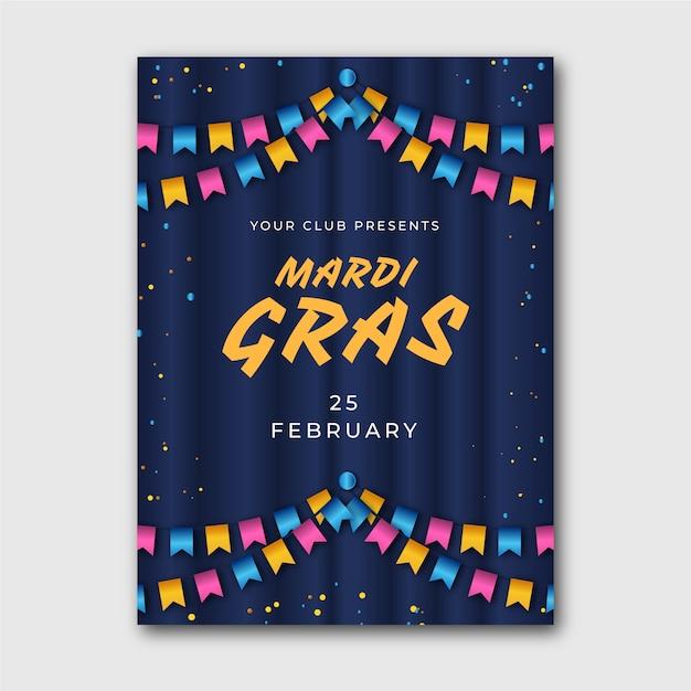 Modèle D'affiche Mardi Gras Réaliste Coloré Vecteur gratuit