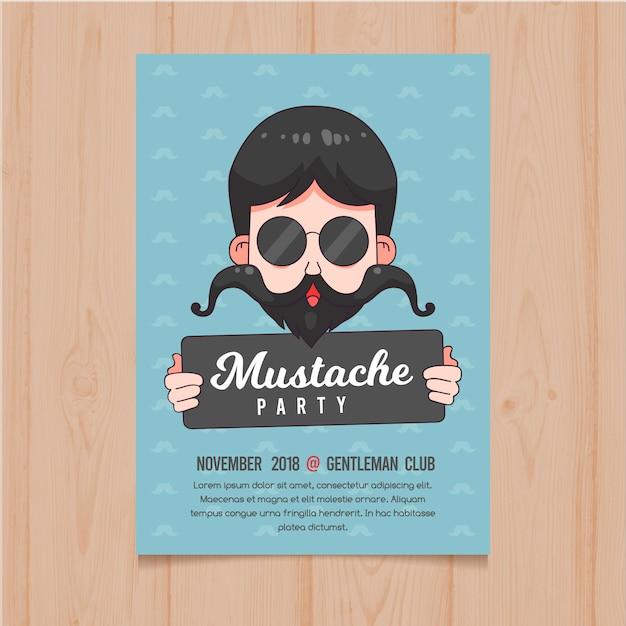 Modèle d'affiche movember moustache Vecteur gratuit