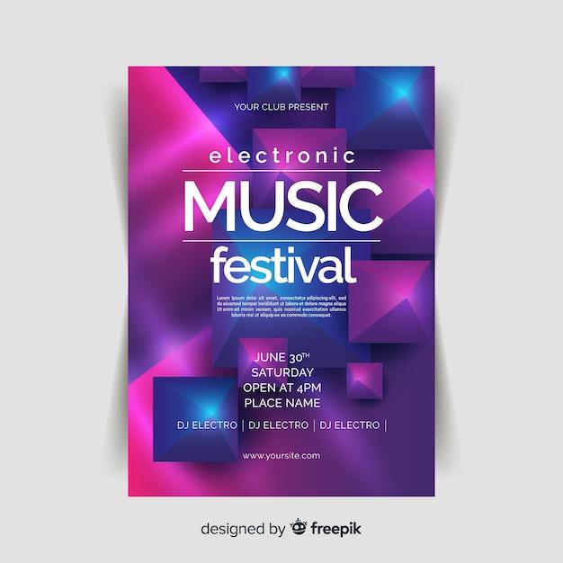 Modèle d'affiche de musique 3d abstrait Vecteur gratuit