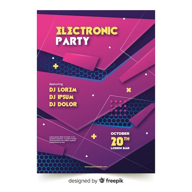 Modèle d'affiche de musique abstraite fête électronique Vecteur gratuit