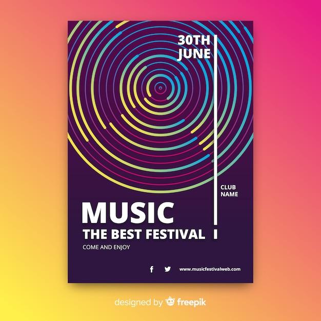 Modèle d'affiche de musique abstraite Vecteur gratuit