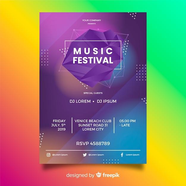 Modèle d'affiche musique dégradé abstrait Vecteur gratuit