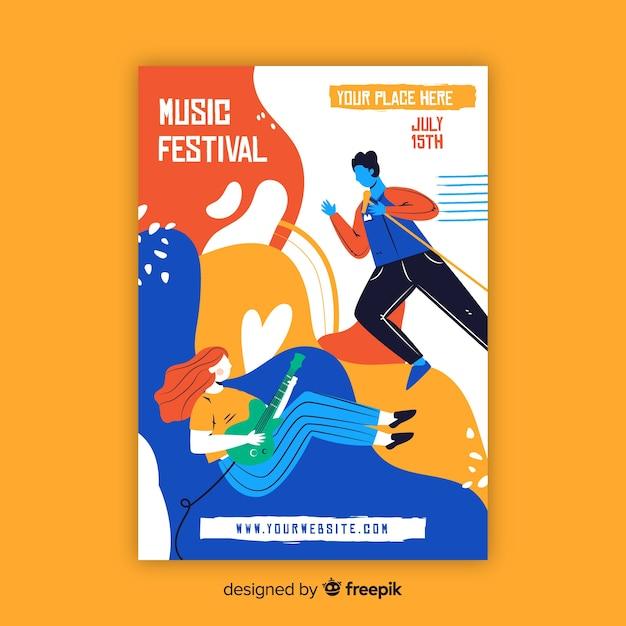 Modèle d'affiche de musique dessiné à la main Vecteur gratuit