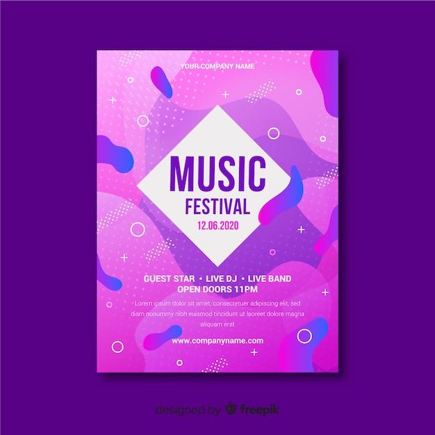 Modèle d'affiche de musique avec effet liquide Vecteur gratuit