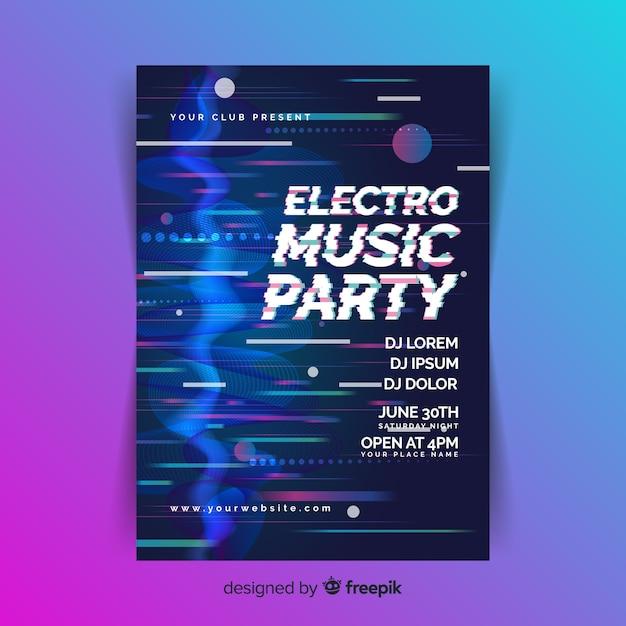 Modèle d'affiche de musique électronique effet glitch Vecteur gratuit