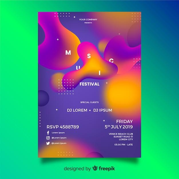 Modèle d'affiche de musique de forme liquide Vecteur gratuit