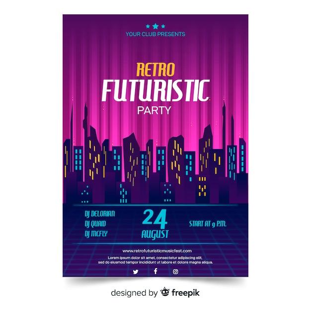 Modèle d'affiche de musique futuriste rétro Vecteur gratuit