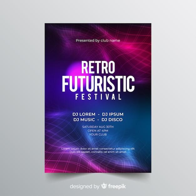 Modèle d'affiche de musique futurstic rétro Vecteur gratuit