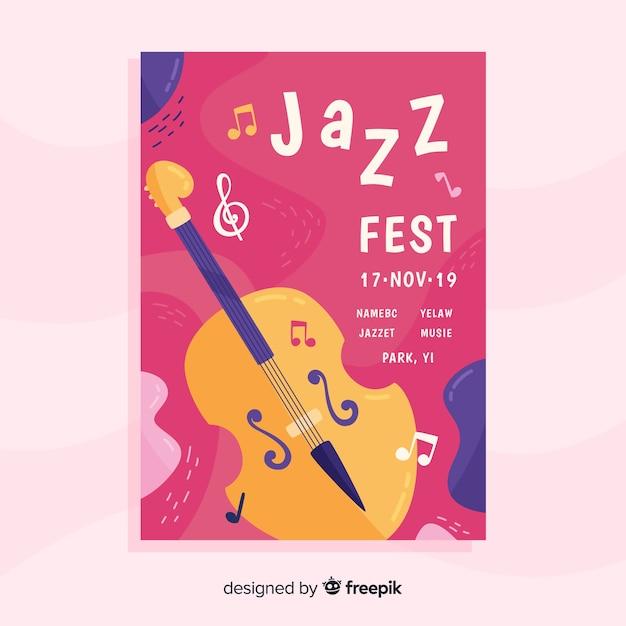 Modèle d'affiche de musique jazz abstraite Vecteur gratuit