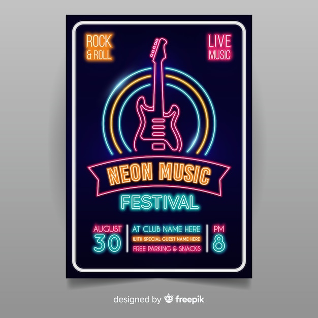 Modèle d'affiche de musique néon Vecteur gratuit