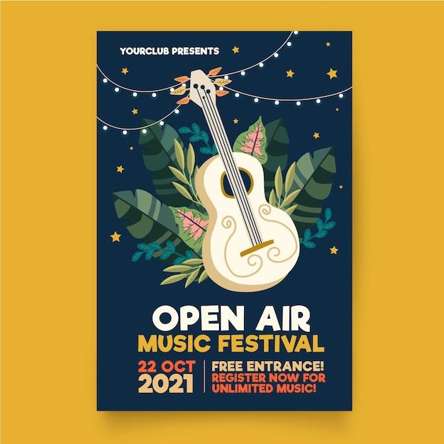 Modèle D'affiche De Musique En Plein Air Vecteur gratuit