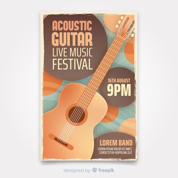 Modèle d'affiche de musique rétro avec guitare Vecteur gratuit