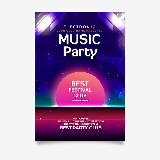 Modèle d'affiche de musique rétro pour la fête Vecteur gratuit
