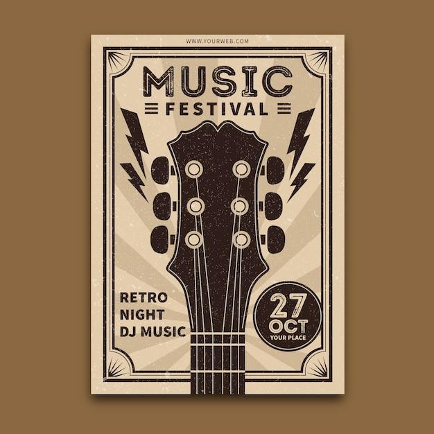 Modèle d'affiche de musique rétro Vecteur gratuit