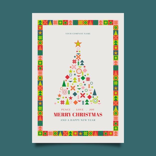 Modèle D'affiche De Noël Avec Des Formes Géométriques Colorées Vecteur gratuit