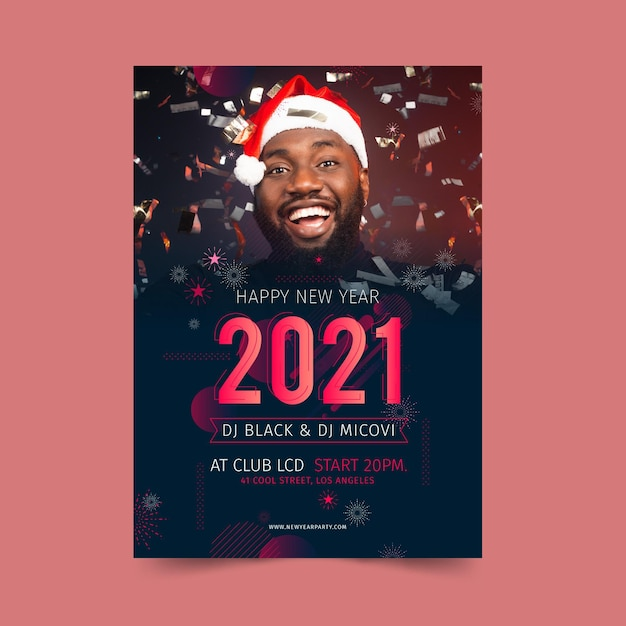 Modèle D'affiche De Nouvel An 2021 Vecteur gratuit