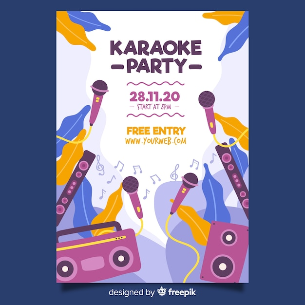 Modèle d'affiche de nuit karaoké à plat Vecteur gratuit