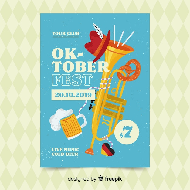 Modèle d'affiche oktoberfest dessiné à la main Vecteur gratuit