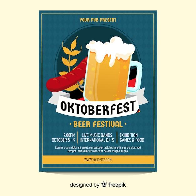 Modèle d'affiche oktoberfest verre de bière Vecteur gratuit