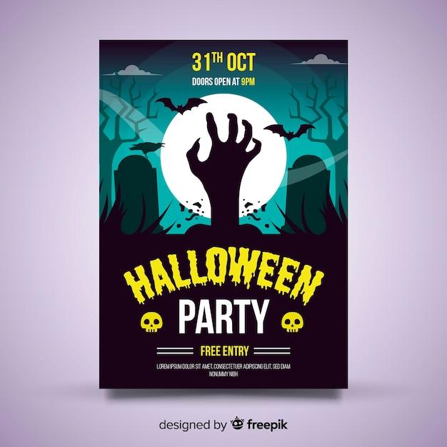 Modèle d'affiche originale de fête halloween avec un design plat Vecteur gratuit