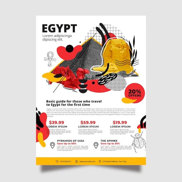 Modèle D'affiche De Papeterie En Voyage En Egypte Vecteur gratuit