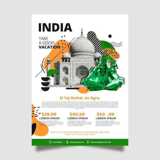 Modèle D'affiche De Papeterie En Voyage En Inde Vecteur gratuit