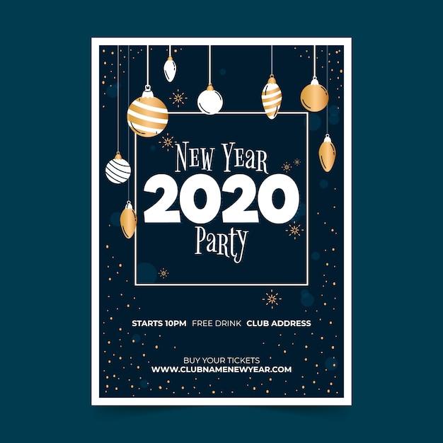 Modèle d'affiche de parti dessiné main nouvel an 2020 Vecteur gratuit