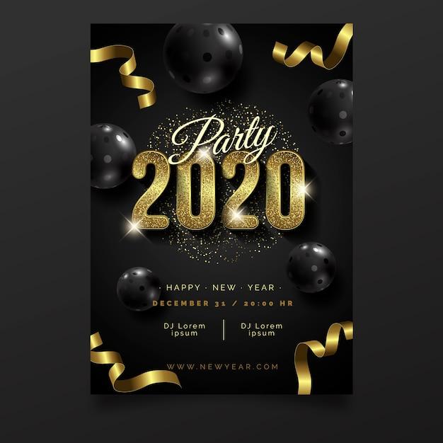 Modèle d'affiche de parti réaliste nouvel an 2020 Vecteur gratuit