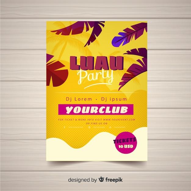 Modèle d'affiche de partie de feuilles de paume luau Vecteur gratuit