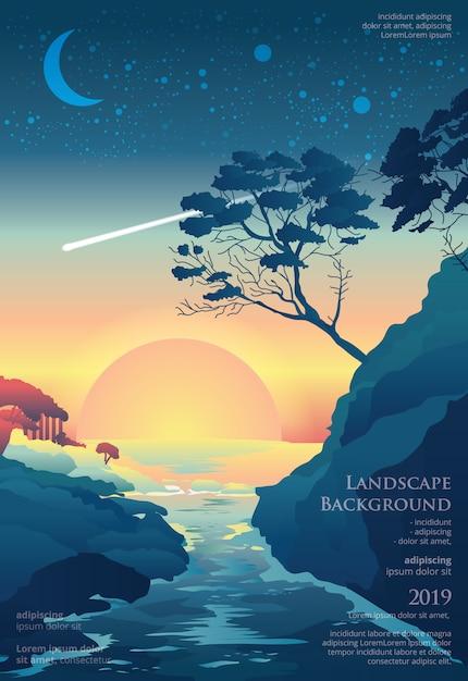 Modèle d'affiche de paysage marin design graphique Vecteur Premium