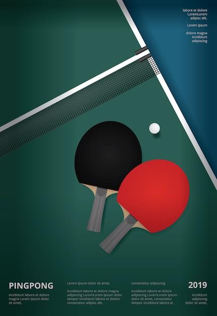 Modèle d'affiche de ping-pong Vecteur Premium