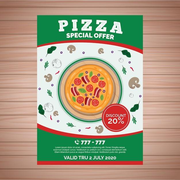 Modèle D'affiche Avec Pizza Vecteur gratuit