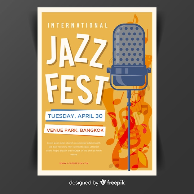 Modèle d'affiche plat international jazz day Vecteur gratuit