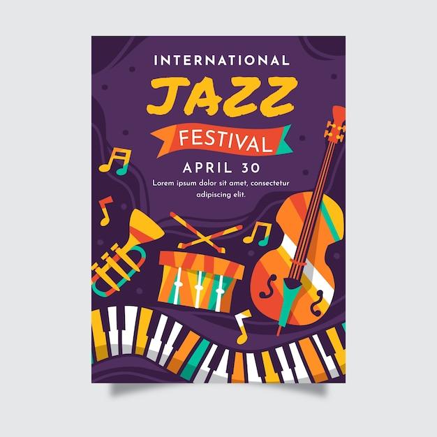 Modèle D'affiche Plat De La Journée Internationale Du Jazz Vecteur gratuit