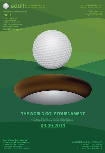 Modèle d'affiche pour le championnat de golf Vecteur Premium