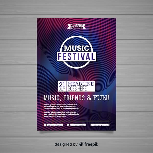 Modèle d'affiche pour le festival de musique abstraite coloré Vecteur gratuit