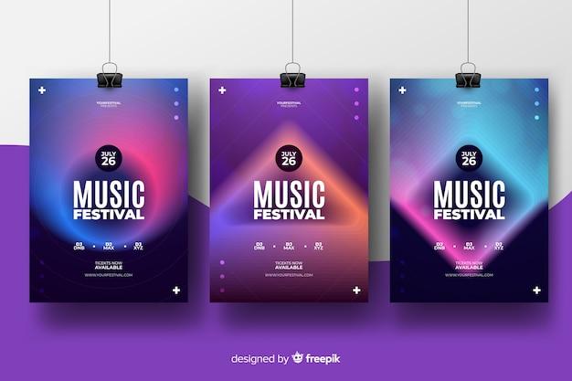 Modèle d'affiche pour le festival de musique abstraite Vecteur Premium