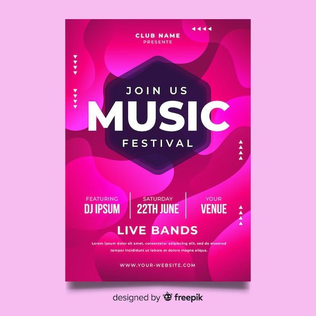 Modèle d'affiche pour le festival de musique abstraite Vecteur gratuit