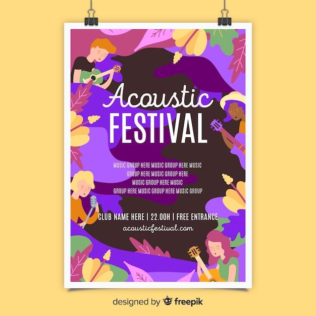 Modèle d'affiche pour le festival de musique acoustique Vecteur gratuit