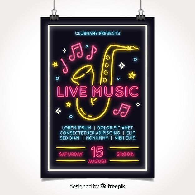 Modèle D'affiche Pour Le Festival De Musique Au Néon Vecteur gratuit