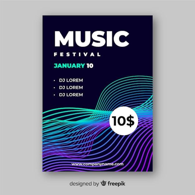 Modèle d'affiche pour le festival de musique colorée Vecteur gratuit