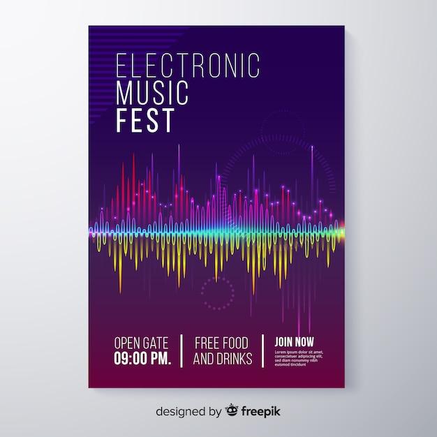 Modèle d'affiche pour le festival de musique électronique abstraite Vecteur gratuit