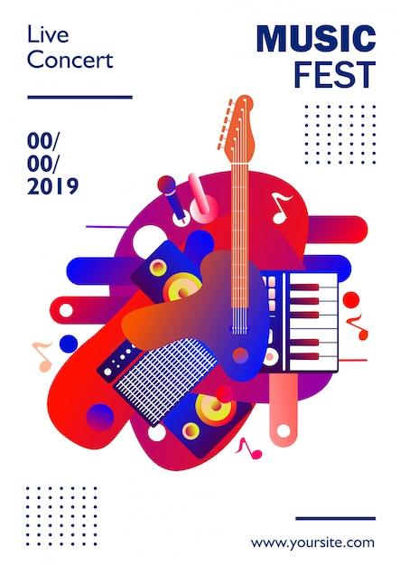 Modèle d'affiche pour le festival de musique, sur fond blanc, coloré. illustration Vecteur Premium