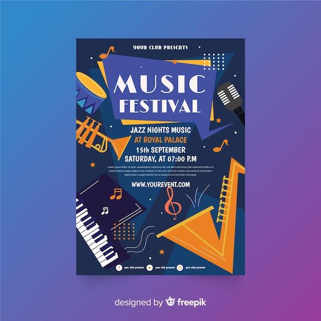 Modèle d'affiche pour le festival de musique jazz Vecteur gratuit