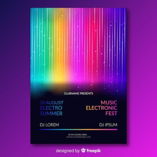 Modèle d'affiche pour le festival de musique avec des lignes colorées Vecteur gratuit