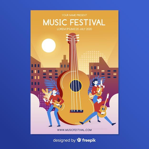 Modèle d'affiche pour le festival de musique plat Vecteur gratuit