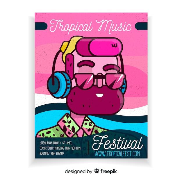 Modèle d'affiche pour le festival de musique tropicale vintage Vecteur gratuit