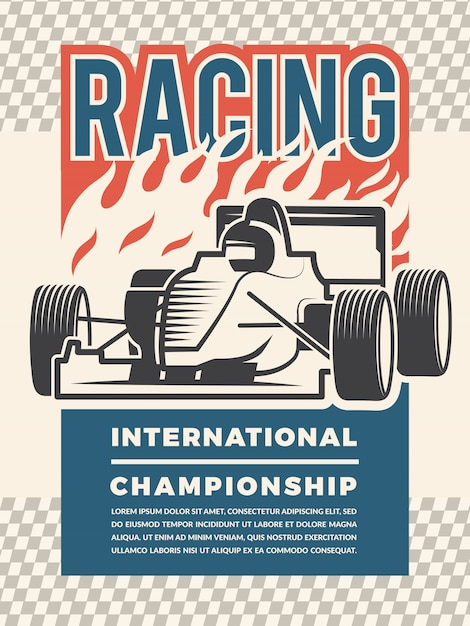 Modèle d'affiche pour motosport. illustrations d'époque de voitures de course Vecteur Premium