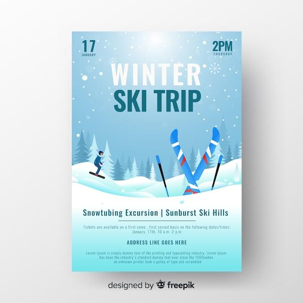 Modèle d\'affiche pour un séjour de ski en hiver ...